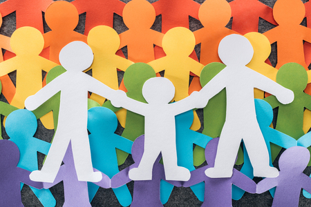 rainbow multicolored same sex paper cut family, lgbt concept