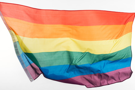 waving lgbt rainbow flag isolated on white Stock Photo
