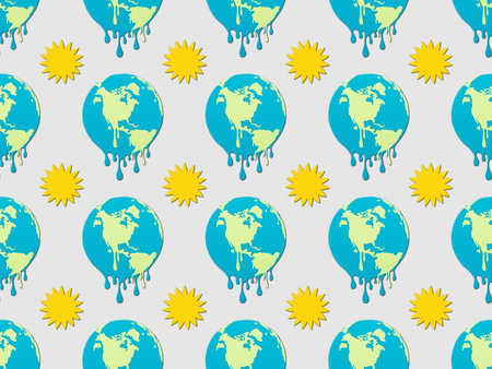 pattern with melting earth and sun signs on grey background, global warming concept Imagens