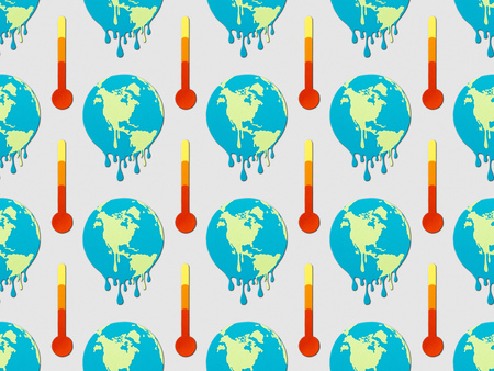 pattern with signs of melting globes and thermometers on grey background, global warming concept Imagens