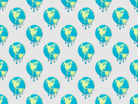 pattern with melting globes signs on grey background, global warming concept
