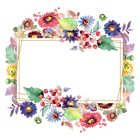 Bouquets with flowers and fruits. Floral botanical flower. Spring leaf wildflower isolated. Watercolor background illustration set. Watercolour drawing fashion aquarelle. Frame border ornament square.