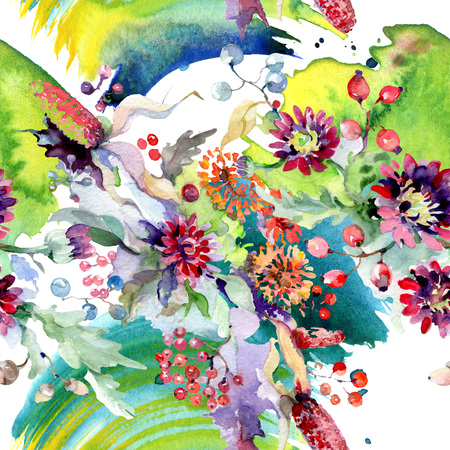 Bouquet with flowers and berries. Floral botanical flower. Wild spring leaf wildflower isolated. Watercolor background illustration set. Watercolour drawing fashion aquarelle isolated. Reklamní fotografie
