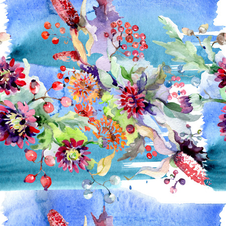 Bouquet with flowers and berries. Floral botanical flower. Wild spring leaf wildflower isolated. Watercolor background illustration set. Watercolour drawing fashion aquarelle isolated. 스톡 콘텐츠
