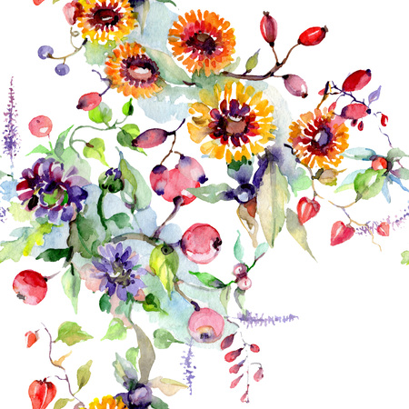 Bouquet with flowers and berries. Floral botanical flower. Wild spring leaf wildflower isolated. Watercolor background illustration set. Watercolour drawing fashion aquarelle isolated. Stock Photo