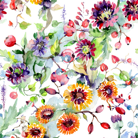 Bouquet with flowers and berries. Floral botanical flower. Wild spring leaf wildflower isolated. Watercolor background illustration set. Watercolour drawing fashion aquarelle isolated. Фото со стока