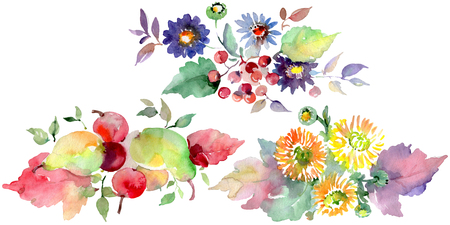 Bouquets with flowers and fruits. Spring leaf wildflower. Watercolor background illustration set. Watercolour drawing fashion aquarelle. Isolated bouquets illustration element.