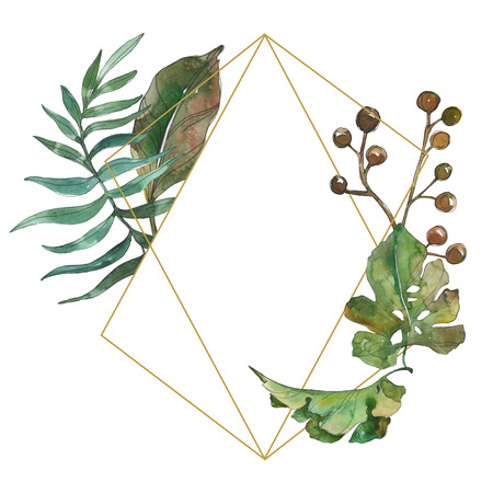 Exotic tropical hawaiian summer. Palm beach tree leaves. Watercolor background illustration set. Watercolour drawing fashion aquarelle isolated. Frame border ornament square.