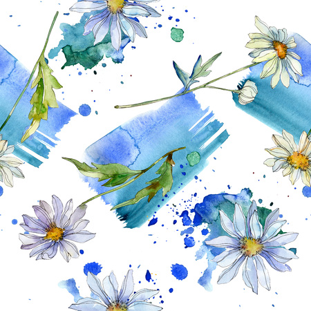 Daisy floral botanical flower. Wild spring leaf wildflower isolated. Watercolor illustration set. Watercolour drawing fashion aquarelle. Seamless background pattern. Fabric wallpaper print texture.