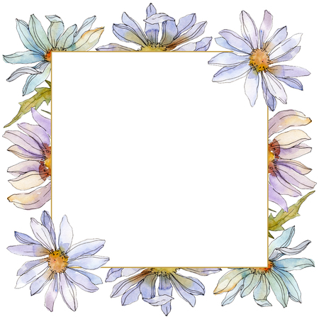 Daisy floral botanical flower. Wild spring leaf wildflower isolated. Watercolor background illustration set. Watercolour drawing fashion aquarelle isolated. Frame border ornament square. Banco de Imagens