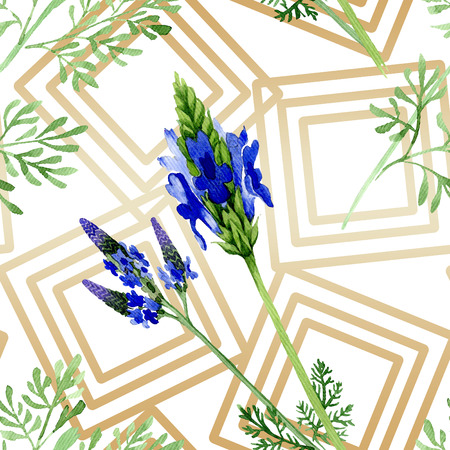 Blue violet lavender flower. Wild spring leaf wildflower isolated. Watercolor illustration set. Watercolour drawing fashion aquarelle. Seamless background pattern. Fabric wallpaper print texture. Stock Photo