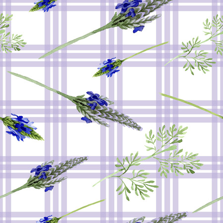 Blue violet lavender flower. Wild spring leaf wildflower isolated. Watercolor illustration set. Watercolour drawing fashion aquarelle. Seamless background pattern. Fabric wallpaper print texture. Zdjęcie Seryjne
