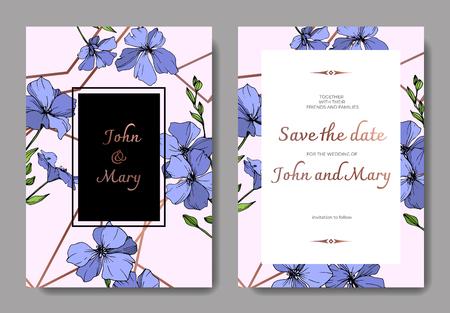 Vector Blue Flax floral botanical flower. Wild spring leaf wildflower isolated. Engraved ink art. Wedding background card floral decorative border. Elegant card illustration graphic set banner. Vektorgrafik