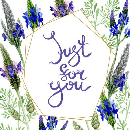 Blue violet lavender floral botanical flower. Wild spring leaf wildflower isolated. Watercolor background illustration set. Watercolour drawing fashion aquarelle. Frame border ornament square.