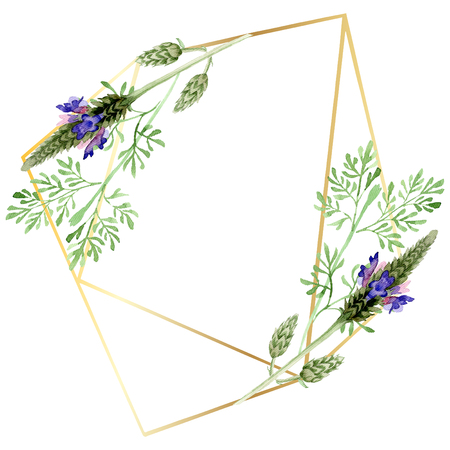 Blue violet lavender floral botanical flower. Wild spring leaf wildflower isolated. Watercolor background illustration set. Watercolour drawing fashion aquarelle. Frame border ornament square.