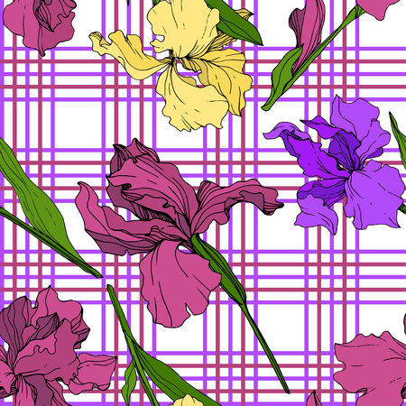 Vector Yellow, purple and maroon Iris floral botanical flower. Wild spring leaf wildflower isolated. Engraved ink art. Seamless background pattern. Fabric wallpaper print texture.