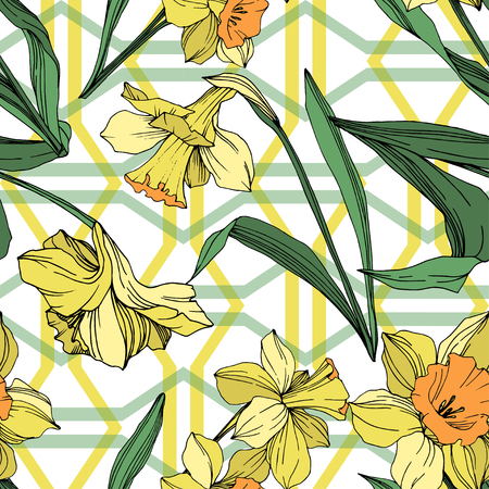 Vector Yellow Narcissus floral botanical flower. Wild spring leaf wildflower isolated. Engraved ink art. Seamless background pattern. Fabric wallpaper print texture.  イラスト・ベクター素材