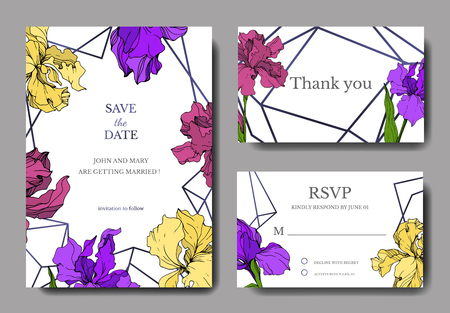 Vector Iris floral botanical flower. Wild spring leaf wildflower isolated. Engraved ink art. Wedding background card floral decorative border. Elegant card illustration graphic set banner.