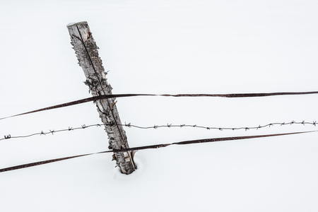 fence with wooden stick on clear white snow