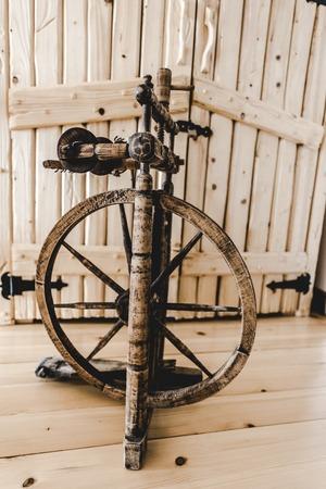 retro loom in wooden textured light room Stok Fotoğraf - 117954211