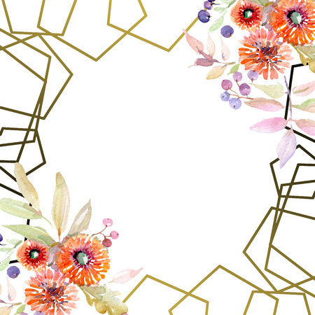 Bouquet floral botanical flowers. Wild spring leaf wildflower isolated. Watercolor background illustration set. Watercolour drawing fashion aquarelle isolated. Frame border ornament square. Reklamní fotografie