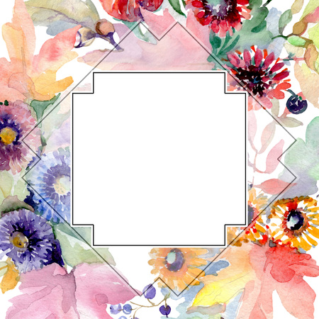 Bouquet floral botanical flowers. Wild spring leaf wildflower isolated. Watercolor background illustration set. Watercolour drawing fashion aquarelle isolated. Frame border ornament square. 版權商用圖片