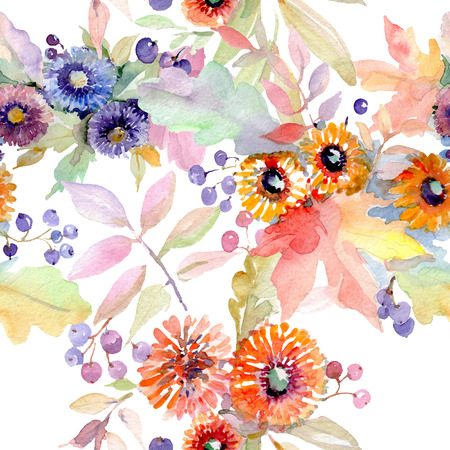 Bouquet floral botanical flowers. Wild spring leaf wildflower isolated. Watercolor illustration set. Watercolour drawing fashion aquarelle. Seamless background pattern. Fabric wallpaper print texture. Stock Photo