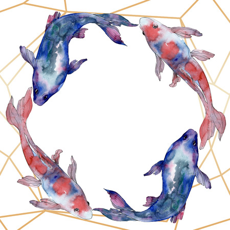 Spotted aquatic underwater colorful fish set. Red sea and exotic fishes inside. Watercolor background illustration set. Watercolour drawing fashion aquarelle isolated. Frame border ornament square.