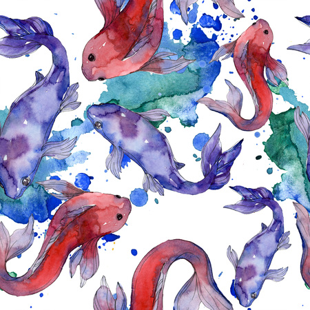 Aquatic fish set. Red sea and exotic fishes inside: Goldfish. Watercolor illustration set. Watercolour drawing fashion aquarelle. Seamless background pattern. Fabric wallpaper print texture. Stock Illustration - 118133597