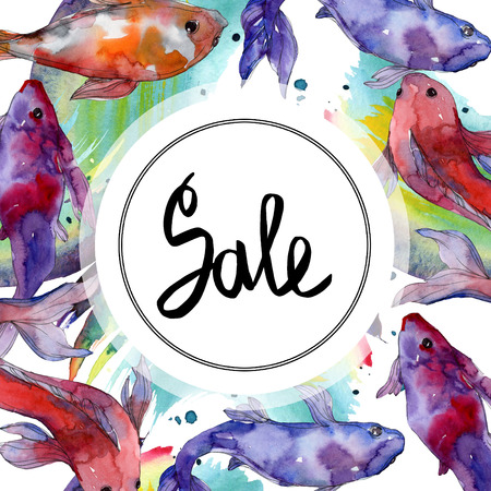 Aquatic underwater tropical fish set. Red sea and exotic fishes inside: Goldfish. Watercolor background illustration set. Watercolour drawing fashion aquarelle isolated. Frame border ornament square. Stock Photo