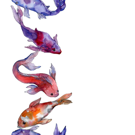 Aquatic fish set. Red sea and exotic fishes inside: Goldfish. Watercolor illustration set. Watercolour drawing fashion aquarelle. Seamless background pattern. Fabric wallpaper print texture. Stock Illustration - 117953714