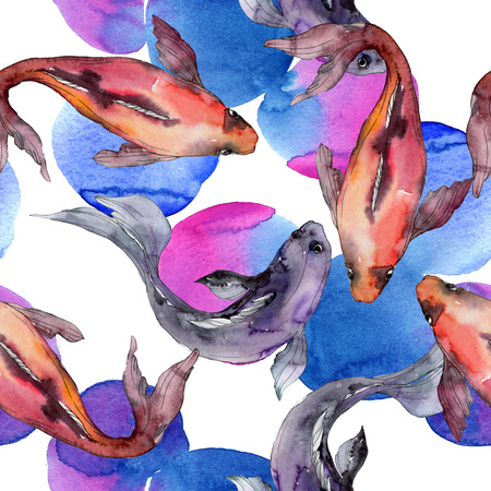 Aquatic fish set. Red sea and exotic fishes inside: Goldfish. Watercolor illustration set. Watercolour drawing fashion aquarelle. Seamless background pattern. Fabric wallpaper print texture. Stock Illustration - 117953621