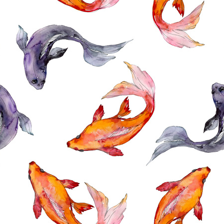 Aquatic fish set. Red sea and exotic fishes inside: Goldfish. Watercolor illustration set. Watercolour drawing fashion aquarelle. Seamless background pattern. Fabric wallpaper print texture. Stock Illustration - 118133674