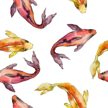Aquatic fish set. Red sea and exotic fishes inside: Goldfish. Watercolor illustration set. Watercolour drawing fashion aquarelle. Seamless background pattern. Fabric wallpaper print texture. Stock Illustration - 118133675