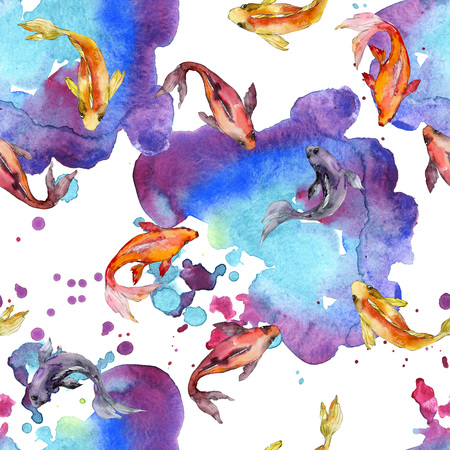 Aquatic fish set. Red sea and exotic fishes inside: Goldfish. Watercolor illustration set. Watercolour drawing fashion aquarelle. Seamless background pattern. Fabric wallpaper print texture.