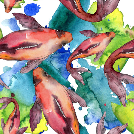 Aquatic fish set. Red sea and exotic fishes inside: Goldfish. Watercolor illustration set. Watercolour drawing fashion aquarelle. Seamless background pattern. Fabric wallpaper print texture. Stock Illustration - 118133858