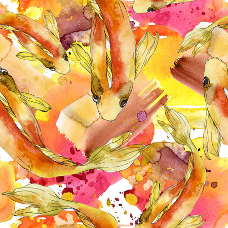 Aquatic fish set. Red sea and exotic fishes inside: Goldfish. Watercolor illustration set. Watercolour drawing fashion aquarelle. Seamless background pattern. Fabric wallpaper print texture. Stock Illustration - 118133865