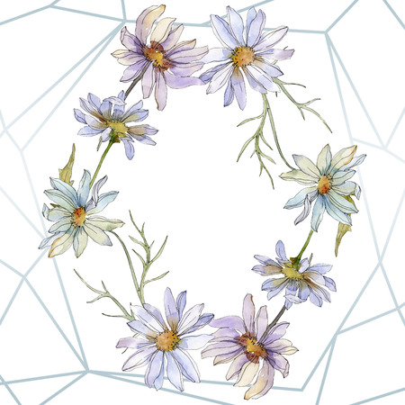 Daisy floral botanical flower. Wild spring leaf wildflower isolated. Watercolor background illustration set. Watercolour drawing fashion aquarelle isolated. Frame border ornament square. 스톡 콘텐츠