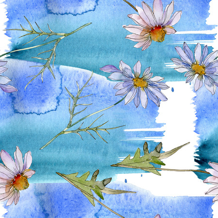 Daisy and chamomile botanical flower. Wild spring leaf wildflower isolated. Watercolor illustration set. Watercolour drawing aquarelle. Seamless background pattern. Fabric wallpaper print texture.