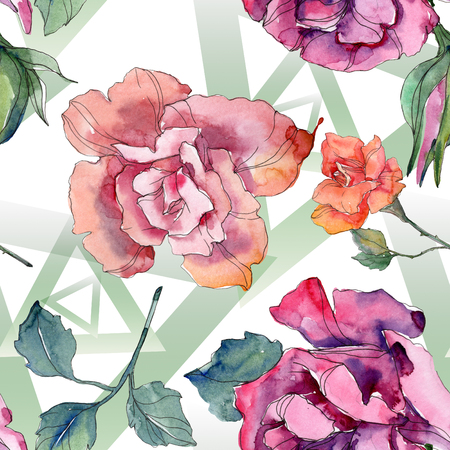 Red and pink rose floral botanical flower. Wild spring leaf isolated. Watercolor illustration set. Watercolour drawing fashion aquarelle. Seamless background pattern. Fabric wallpaper print texture. Imagens