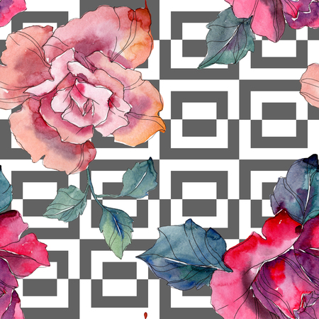 Red and pink rose floral botanical flower. Wild spring leaf isolated. Watercolor illustration set. Watercolour drawing fashion aquarelle. Seamless background pattern. Fabric wallpaper print texture. Stock Photo
