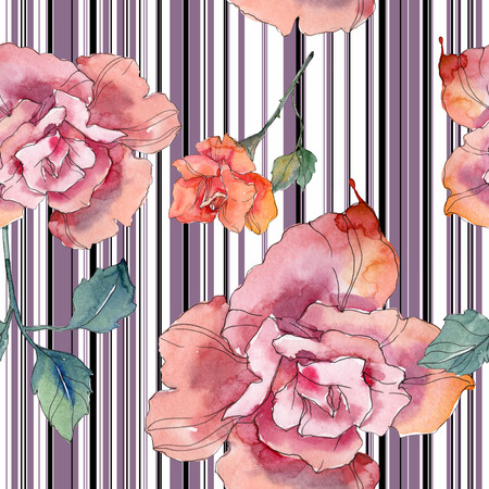 Red and pink rose floral botanical flower. Wild spring leaf isolated. Watercolor illustration set. Watercolour drawing fashion aquarelle. Seamless background pattern. Fabric wallpaper print texture. 写真素材