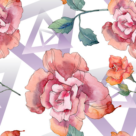 Red and pink rose floral botanical flower. Wild spring leaf isolated. Watercolor illustration set. Watercolour drawing fashion aquarelle. Seamless background pattern. Fabric wallpaper print texture. Banco de Imagens