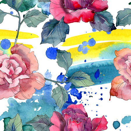 Red and pink rose floral botanical flower. Wild spring leaf isolated. Watercolor illustration set. Watercolour drawing fashion aquarelle. Seamless background pattern. Fabric wallpaper print texture. 写真素材 - 118133912