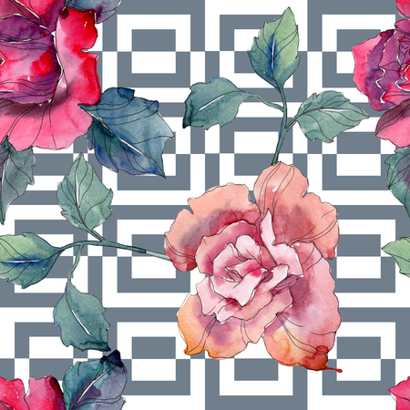 Red and pink rose floral botanical flower. Wild spring leaf isolated. Watercolor illustration set. Watercolour drawing fashion aquarelle. Seamless background pattern. Fabric wallpaper print texture. 写真素材 - 117954222