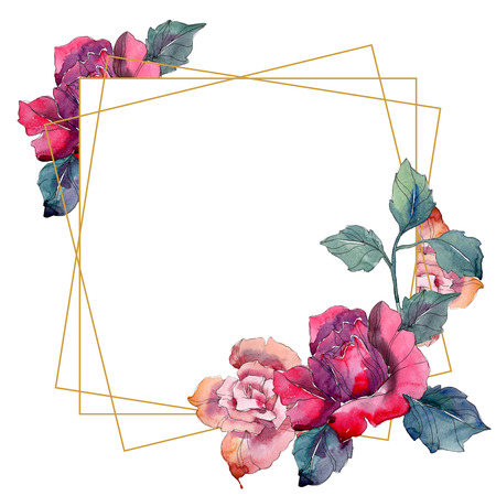 Red and pink rose floral botanical flower. Wild spring leaf wildflower isolated. Watercolor background illustration set. Watercolour drawing fashion aquarelle. Frame border ornament square.