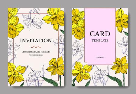 Vector Yellow Narcissus floral botanical flower. Wild spring leaf isolated. Engraved ink art. Wedding background card floral decorative border. Elegant card illustration graphic set banner. Illustration