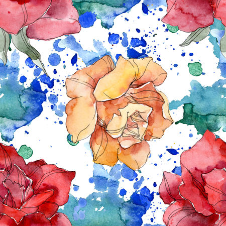 Orange and red Rose floral botanical flower. Wild spring leaf isolated. Watercolor illustration set. Watercolour drawing fashion aquarelle. Seamless background pattern. Fabric wallpaper print texture.