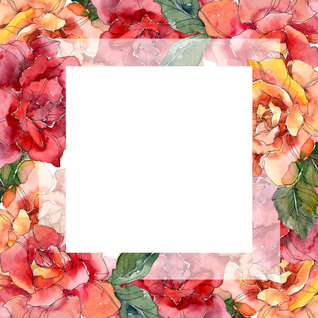 Red and orange Rose floral botanical flower. Wild spring leaf wildflower isolated. Watercolor background illustration set. Watercolour drawing fashion aquarelle isolated. Frame border ornament square.