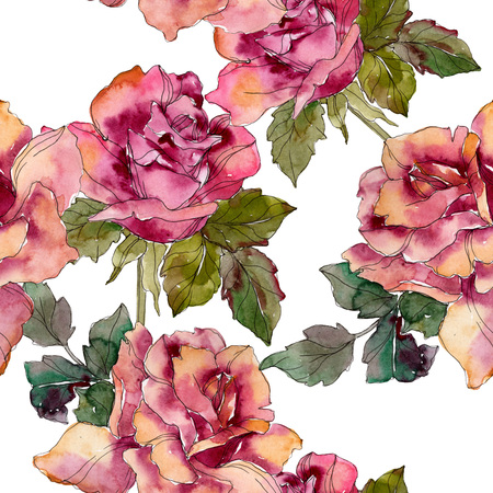 Maroon pink rose floral botanical flower. Wild spring leaf isolated. Watercolor illustration set. Watercolour drawing fashion aquarelle. Seamless background pattern. Fabric wallpaper print texture. Stock fotó